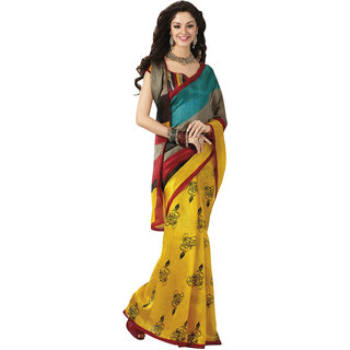 Prafful Bhagalpuri Silk Multi Color  beautiful saree with unstitched blouse