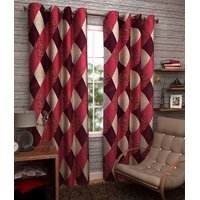 iLiv New Maroon Check Curtains  Set of 2 7ft