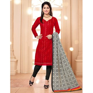 Sareemall Orange Polycotton Lace Salwar Suit Dress Material (Unstitched)