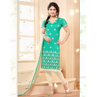 Sareemall Brown Polycotton Lace Salwar Suit Dress Material (Unstitched)