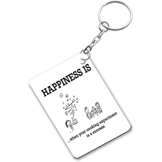 Ucard Happiness Is When Your Cooking Experiment Is A Success Personalized  Photo Key Ring / Key Chain Set of 4 Designs
