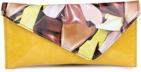 Do Bhai Fashionable Multi Patent   Yellow Clutch