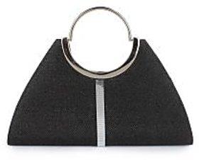 Do Bhai Fashionable Round Handle Clutch Black Clutch