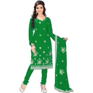 Jiya Embellished Green Satin Cotton Chudidar Unstitched Dress Material