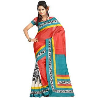 K D Collection Multicolor Linen Printed Saree With Blouse
