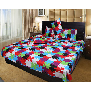 Akash Ganga Cotton Double Bedsheet (Super Soft) with 2 Pillow Covers (KM551)