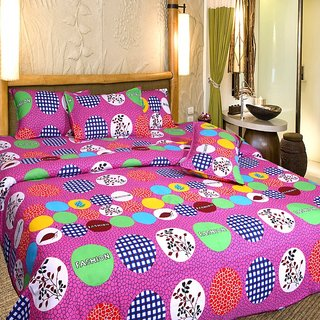 Akash Ganga Cotton Double Bedsheet with 2 Pillow Covers (KM554)
