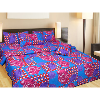 Akash Ganga Cotton Double Bedsheet with 2 Pillow Covers (KM562)
