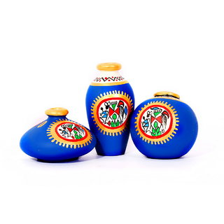 indikala Blue Terracotta Warli Hand painted Miniature Pots (IK-01-016)