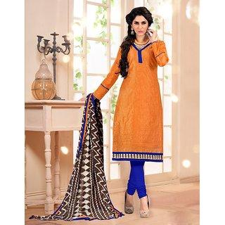 Sareemall Peach Polycotton Lace Salwar Suit Dress Material