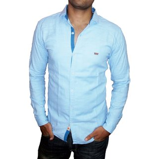 Biggtom Lev Casual Blue Cotton Shirt