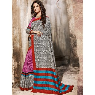 Sareemall Multicolor Art Silk Self Design Saree With Blouse