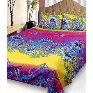 Fresh From Loom Elegant Cotton Single Bed Sheet With Pillow Cover