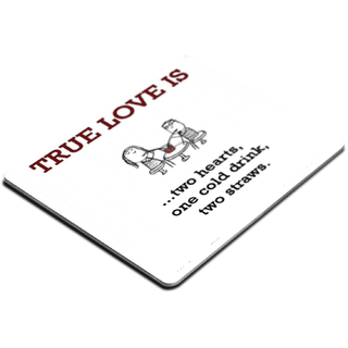 Ucard True Love Is Two Hearts One Cold Drink Two Straws more Printed Dining  Table Drink Coaster Set of 4 Designs