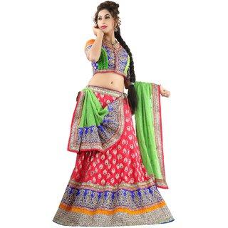 Triveni Stunning Golden Embroidered Wedding Wear Banarasi Silk Lehenga Choli 10003