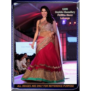 Triveni Pink Net Embroidered Lehenga Saree With Blouse