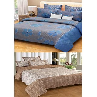 Akash Ganga Contemporary Cotton 2 Bed Sheets with 4 Pillow Covers (KM585)