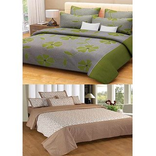 Akash Ganga Contemporary Cotton 2 Bed Sheets with 4 Pillow Covers (KM588)