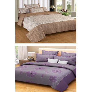 Akash Ganga Combo of 2 Cotton Double Bedsheets with 4 Pillow Covers (KM597)