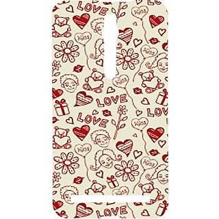 Casotec Love Hearts Design Hard Back Case Cover for Asus Zenfone 2