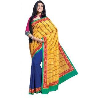 Triveni Blue Art Silk Printed Saree With Blouse