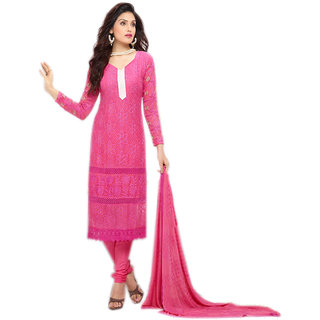 Thankar Pink Embroidered Chiffon Straight Suit (Unstitched)