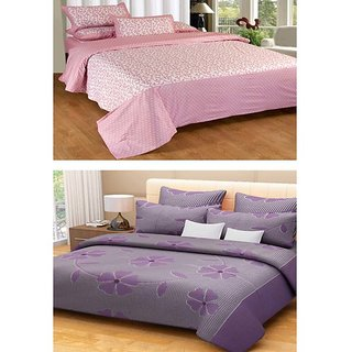 Akash Ganga Contemporary 2 Cotton Double Bedsheets with 4 Pillow Covers (KM600)