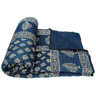 Marwal  Clues Blue Jaipuri Hand Made Block Print  Double Bed Quilts (Design 13)