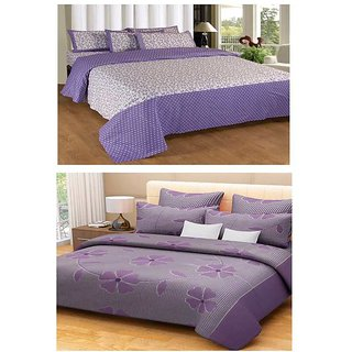 Akash Ganga Combo of 2 Cotton Double Bedsheets with 4 Pillow Covers (KM603)