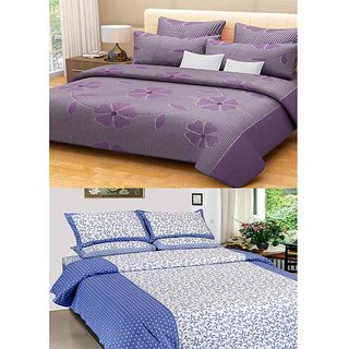 Akash Ganga Combo of 2 Cotton Double Bedsheets with 4 Pillow Covers (KM606)