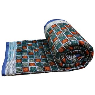 Marwal Buy Clues Multi Colour Jaipuri Hand Made Block Print  Double Bed Quilts (Design 36)