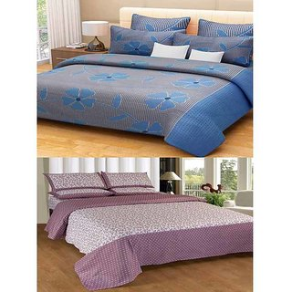 Akash Ganga Combo of 2 Cotton Double Bedsheets with 4 Pillow Covers (KM621)