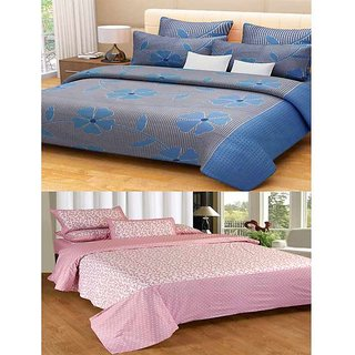 Akash Ganga Combo of 2 Cotton Double Bedsheets with 4 Pillow Covers (KM624)