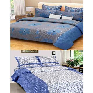 Akash Ganga Combo of 2 Cotton Double Bedsheets with 4 Pillow Covers (KM627)