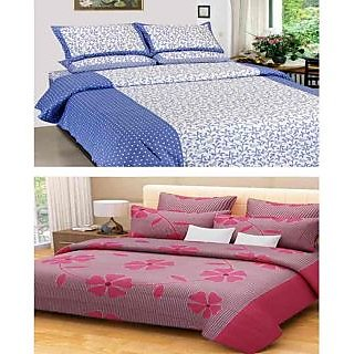 Akash Ganga Combo of 2 Cotton Double Bedsheets with 4 Pillow Covers (KM633)