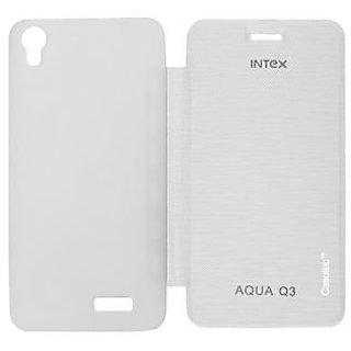 Casotec Premium Flip Case Cover for Intex Aqua Q3 - White