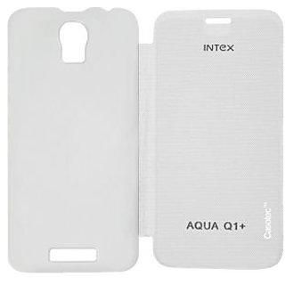 Casotec Premium Flip Case Cover for Intex Aqua Q1 - White