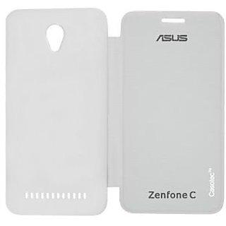 Casotec Premium Flip Case Cover for Asus Zenfone C ZC451CG - White