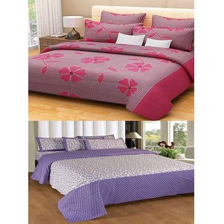 Akash Ganga Combo of 2 Cotton Double Bedsheets with 4 Pillow Covers (KM636)