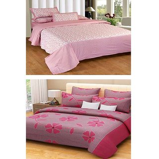 Akash Ganga Combo of 2 Cotton Double Bedsheets with 4 Pillow Covers (KM639)