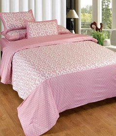 Akash Ganga Pink 100 Pure Cotton Double Bedsheet with 2 Pillow Covers (KM620)