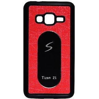 Casotec Metal Back TPU Back Case Cover for Samsung Z1 - Red