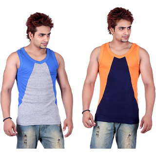 White Moon 333 Gym Vest - Pack of 2 (Blue_Grey)