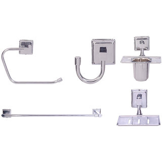 Zahab Plenet-9 Stainless Steel Bathroom Set of 5