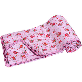 IndiWeaves Cotton  Dohar/Ac Blanket  set for  Double Bed  (1 piece)-Pink