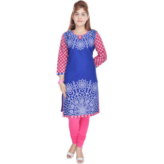 Shop Rajasthan Pink Printed Cotton Stitched Kurti