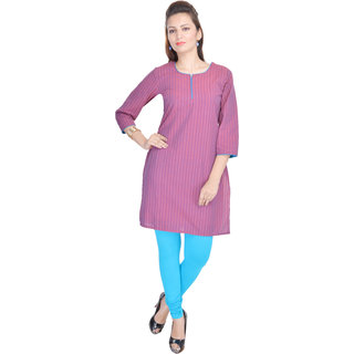 Shop Rajasthan Striped Self Design Pink 3/4 Sleeve Womens Cotton Kurti (SRE2294)
