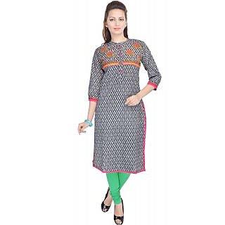 Shop Rajasthan Applique Printed Multicolor 3/4 Sleeve Womens Cotton Kurti (SRE2301)