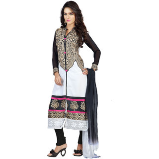 Florence White Jhalak Cotton Embroidered Suit (SB-2061-APR) (Unstitched)