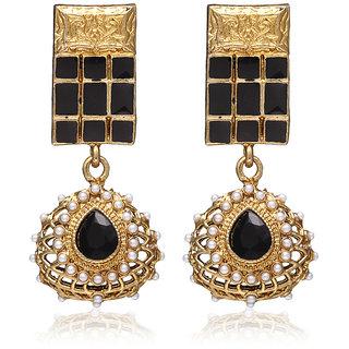Zaveri Pearls Designer Black Indowestern Hanging Earring For Women-ZPFK646